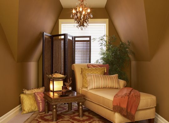 Benjamin Moore Exotic Getaway Valley With Walls In Forge Brown Ceiling Bronzed Beige Accent Colors Golden Chalice And Adobe Dust