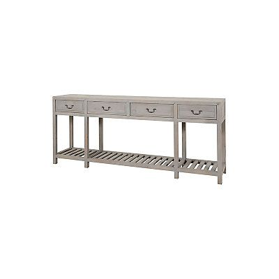 "Console 4 tiroirs ""Embreuil""  pin recyclé gris  200 x 40 x 86 cm"