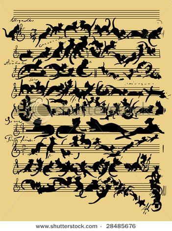 Kitty tune, purrfect song sheet Black cat art, Funny