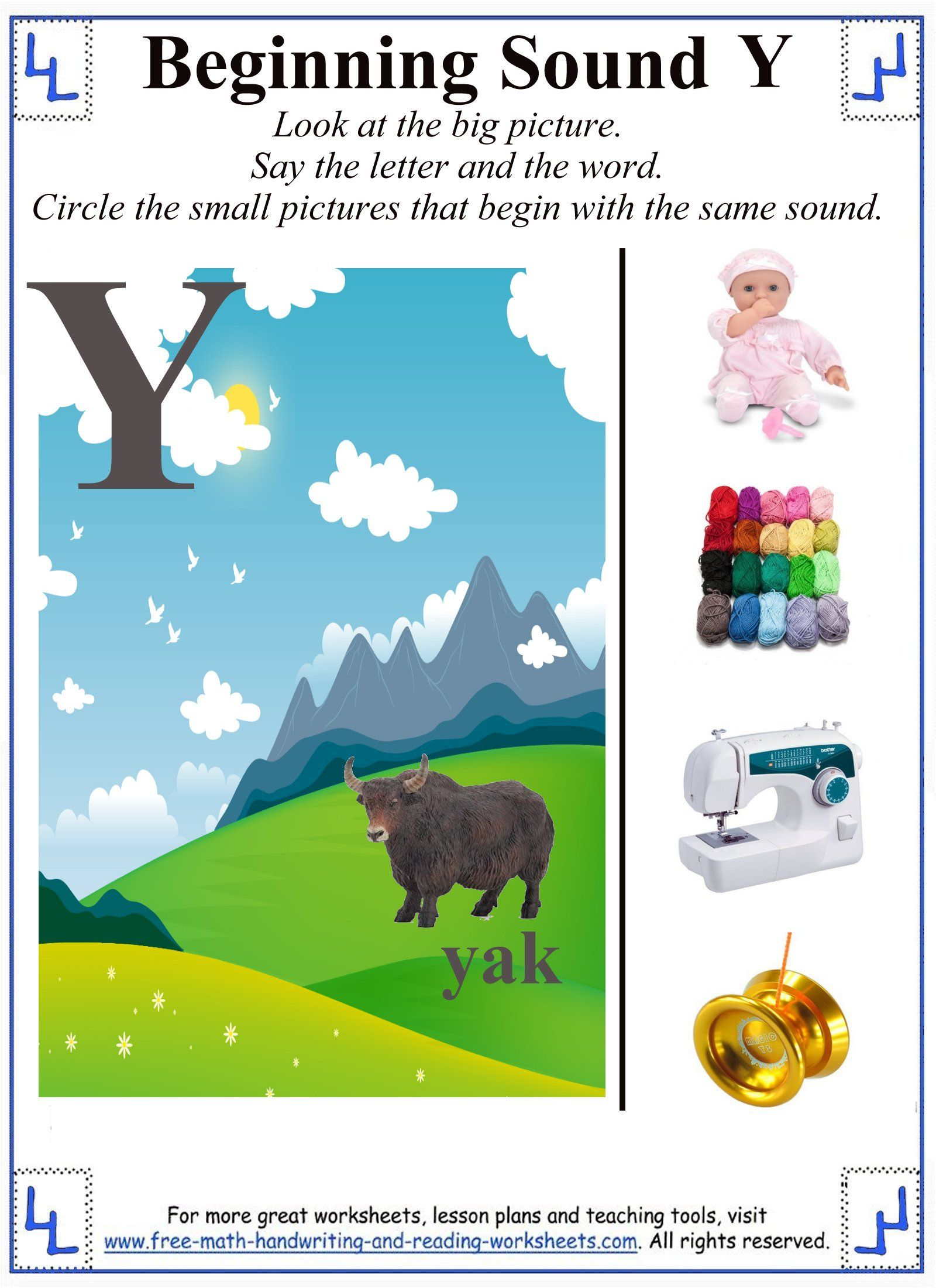 Letter Y Preschool Worksheet