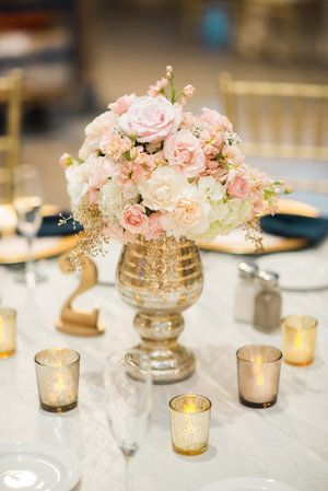 Gold and pink always make a glamorous wedding palette. | Shelly's Designs Florist in Walker, MI