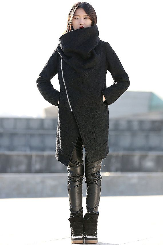 Black Winter Coat with Large Cowl Neck and Zipper - Modern Women ...