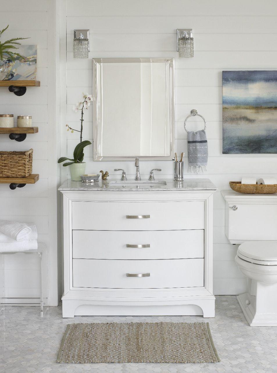 White Modern Rustic Bathroom Ideas