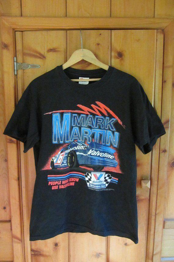 231eca20 Vintage Mark Martin T-shirt Vintage NASCAR Valvoline Racing number 6 Ford  racing retro racing t-shi