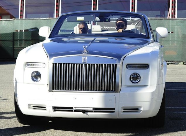 Kanye West and Scott Disick Drive Off in a Rolls-Royce Phantom After