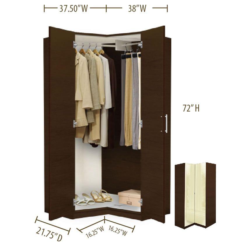Alta Corner Wardrobe Closet Free Standing Corner Closet Corner