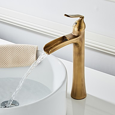 Bathroom Sink Faucet Waterfall Antique Brass Centerset Single Handle One Holebath Taps Brass Sink Faucets Bathroom Sink Faucets Waterfall Bronze Bathroom Faucets