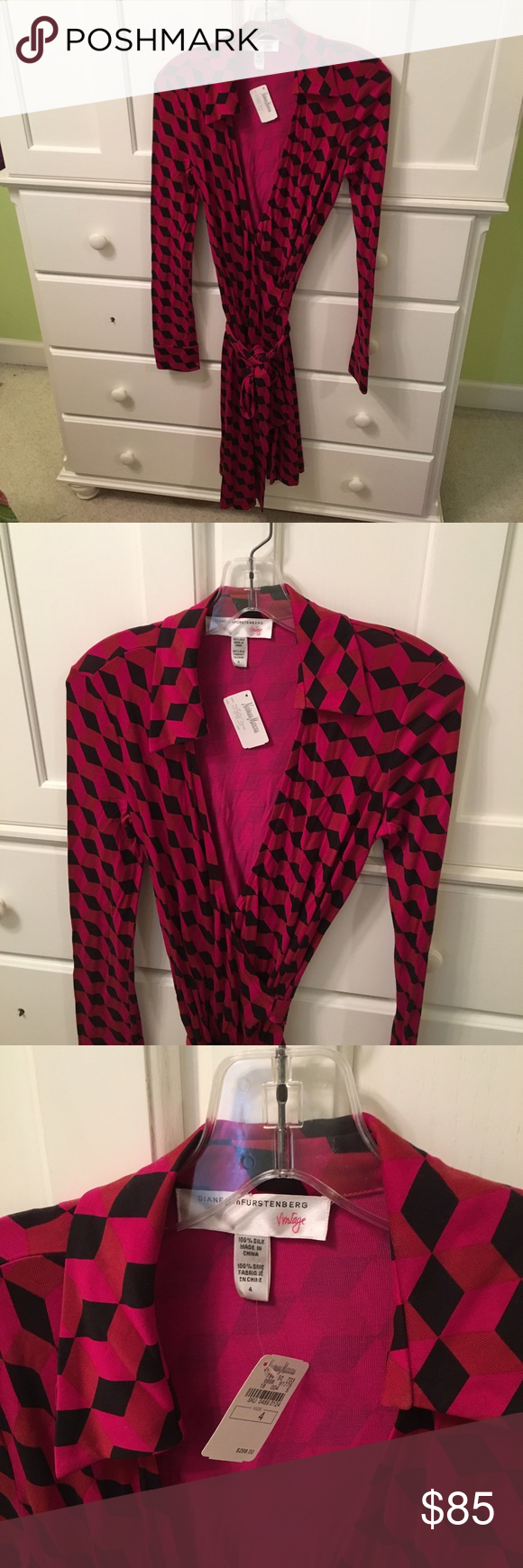 DVF long sleeve classic wrap dress Beautiful DVF classic wrap dress in size 4 never worn!! *item comes from a smoke and pet free home* Diane Von Furstenberg Dresses Long Sleeve