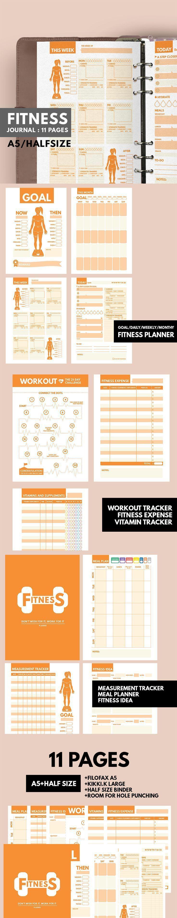 #filofax #Fitness #health #Insert #Journal #planner #workout         Fitness Planner Printable ▹ for...