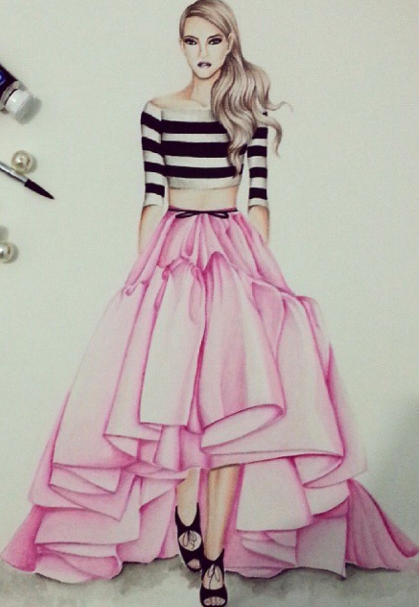 Sketch models for fashion drawings dress
