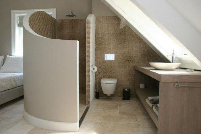 Slaapkamer Met Badkamer: Stoere grijze badkamer met betonstuc ...