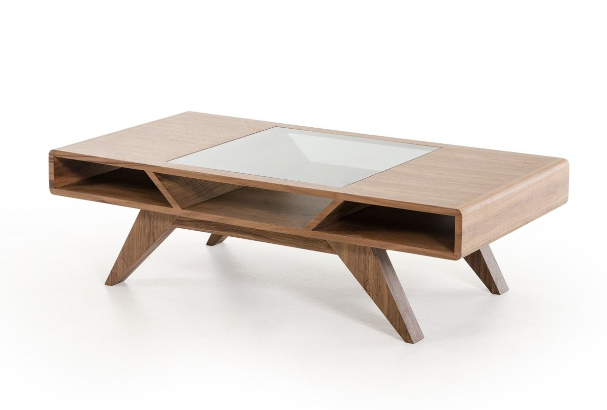 Living Room Table And Chairs Modrest Soria Modern Walnut Coffee Table Garcia Evelyn