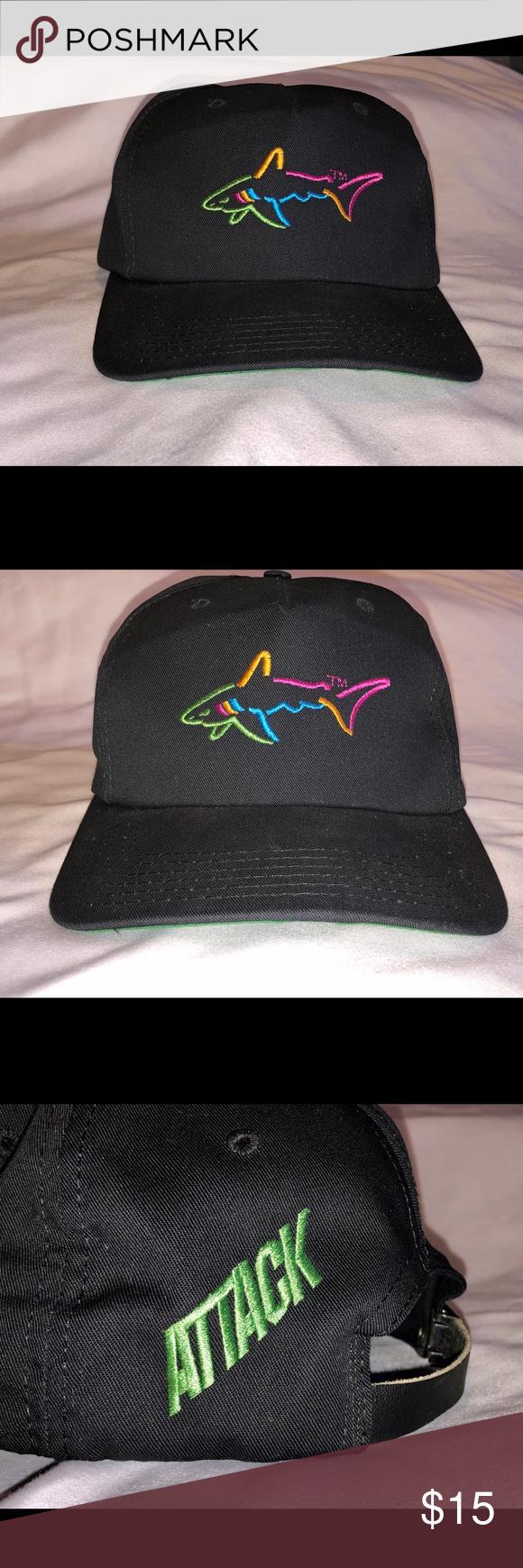 Vintage Greg Norman Neon Shark Adjustable Hat Adjustable Hat Leather Straps Greg Norman