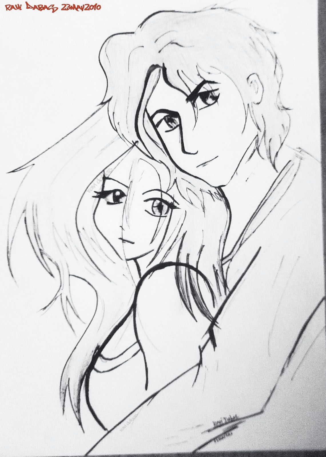 Romance anime cartoons romantic couple sketch of a young guy and a beautiful girl