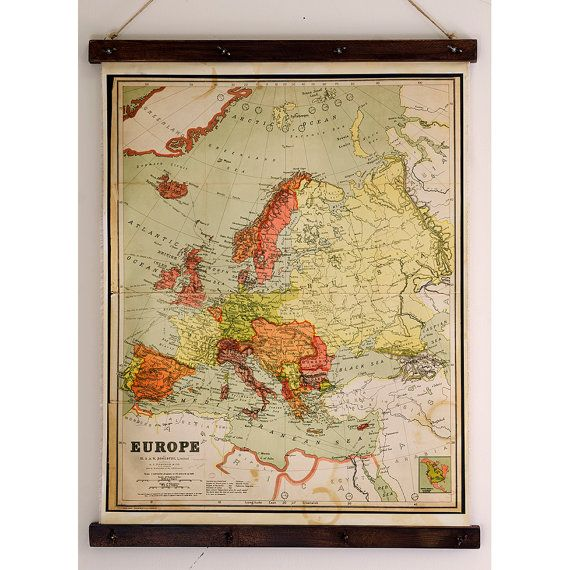Old map of Europe, Canvas print, Home wall decoration, 1912 year ...