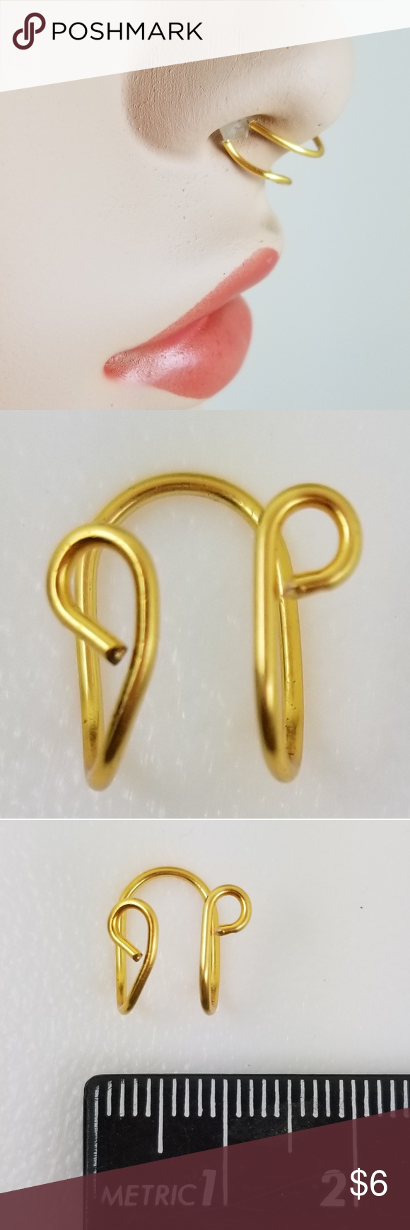 Fake Septum Gold Double Nose Ring Handmade This is a faux septum nose ring that looks like a set of double rings, but is actually one piece. Gold tone wire. No body piercing required. Handmade and new.   101819   567d Jewelry Rings #doublenosepiercing
