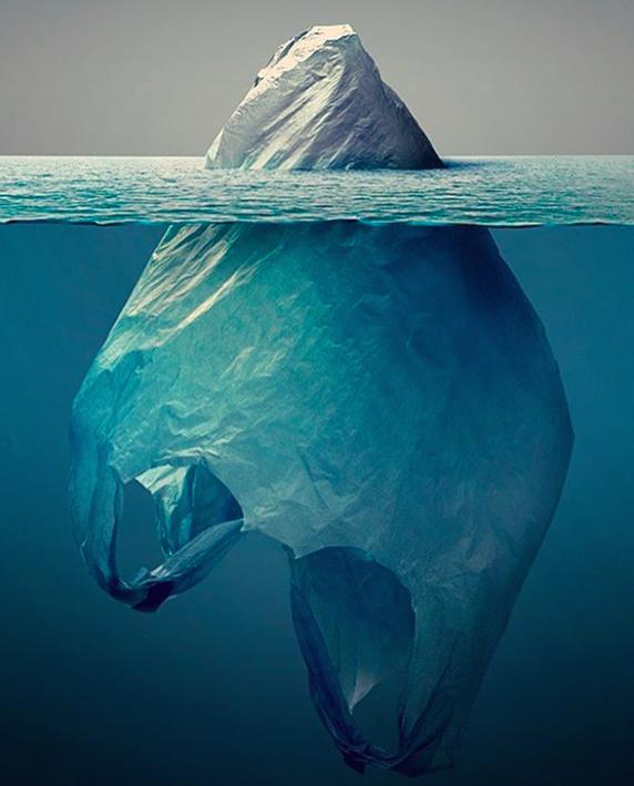 Resultado de imagem para sacola plastico como iceberg
