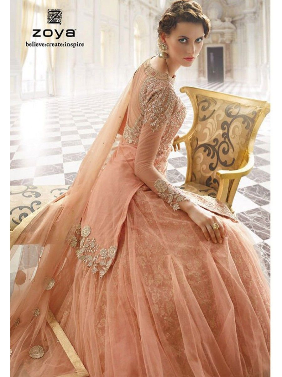 Zoya designer embroidered wedding dress wedding collection this stunning pure fabric peach colour designer dress from zoya collection makes it a unique and elegant party wear bridesmaid dress or wedding dress ombrellifo Images