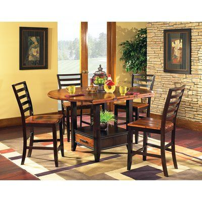 Millwood Pines Hidalgo 5 Piece Counter Height Drop Leaf Solid Wood