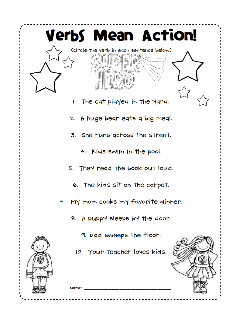 verbs mean action.pdf   Word work [ 1035 x 800 Pixel ]