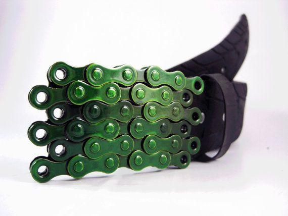 Bike Chain Belt Buckle  Lime Green Finish by RhythmicMetal on Etsy, $40.00