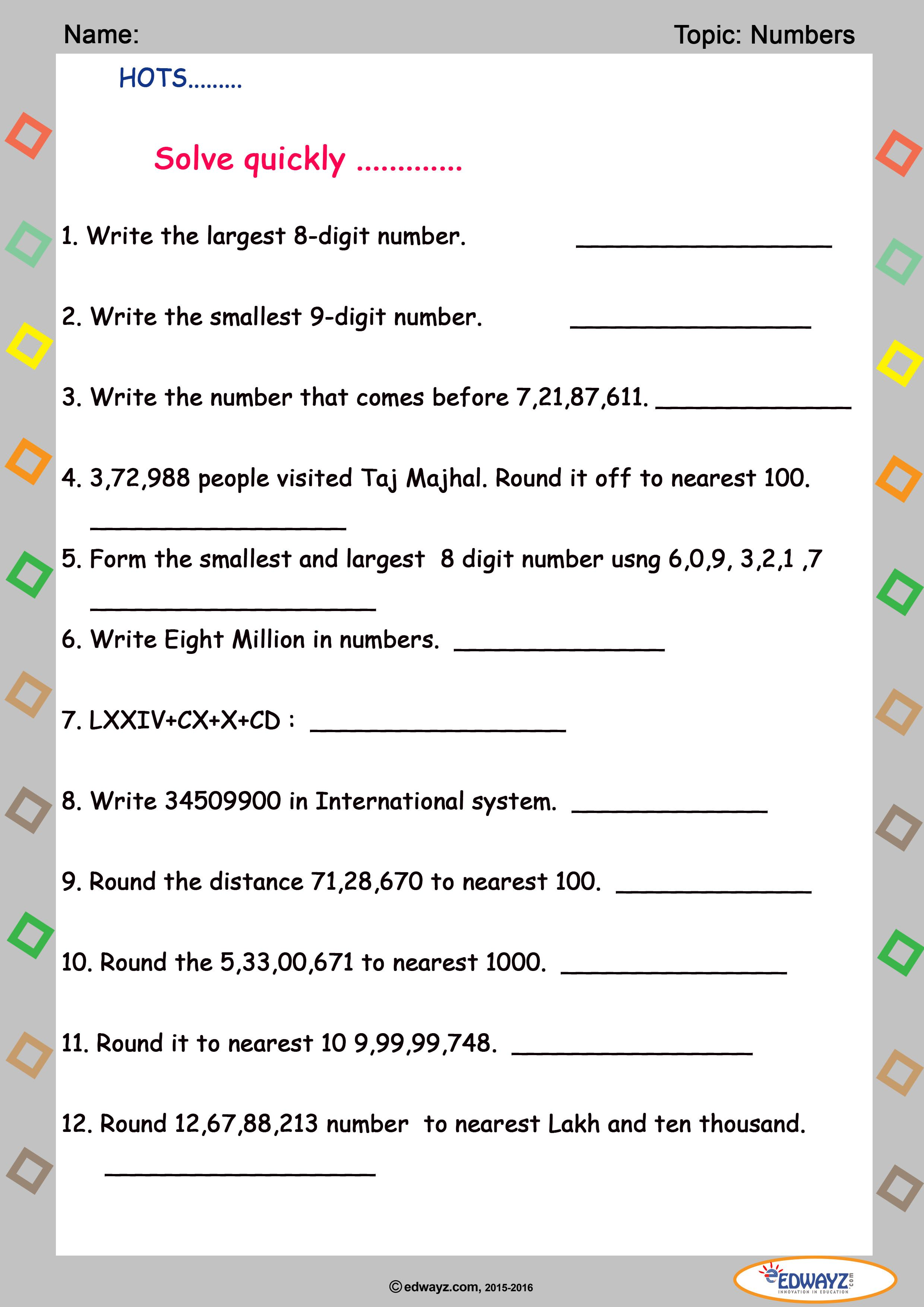 Freeworksheet for #Class5 Numbers, Paid set of 20 worksheets ...