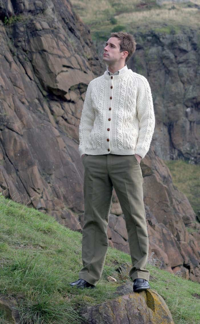 7c5c31433 CLAN - Mens Hand-Knitted Luxury Aran Cardigan - Tay