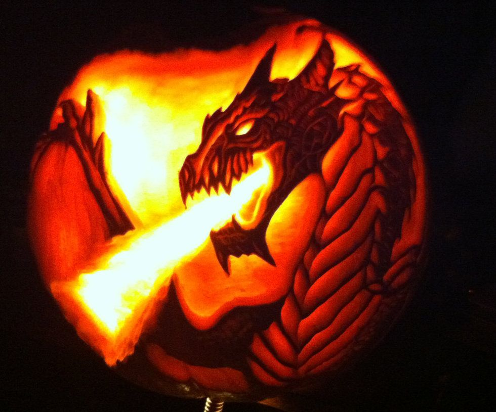 dragon carved pumpkin by wilderflower on deviantart