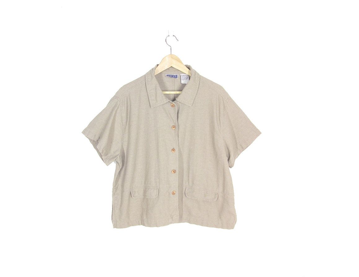 1865e281aa1 Vintage Beige Shirt, Natural Fabric, Linen & Cotton Top, 90s Minimalist  Short Sleeve Blouse, Boxy Button Down Shirt, Loose Fit -- Womens L by  ImprovGoods on ...