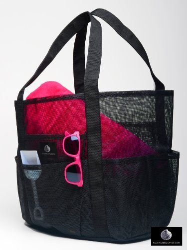 Mesh Family Beach Tote - Black Whale Bag w Black Carabiner Hook by ...