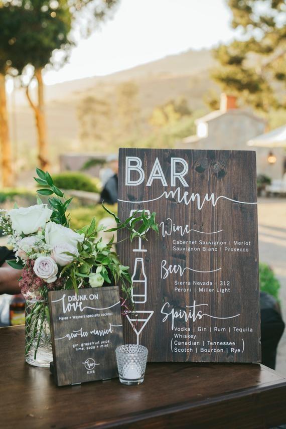 Letreros de menú de barra de madera maciza personalizados para bodas, aniversarios o fiestas – RepinGram: fotos para ti – Luisa Eskens  – Boda fotos