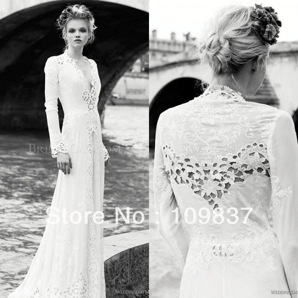 Long sleeve casual wedding dress   Berta White Long Sleeve Vneck Chiffon Lace See Through Modern