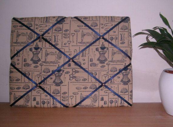 Steampunk Memo Board Dressmaker Sewing Or Craft Room Beige Navy Extraordinary Padded Memo Board