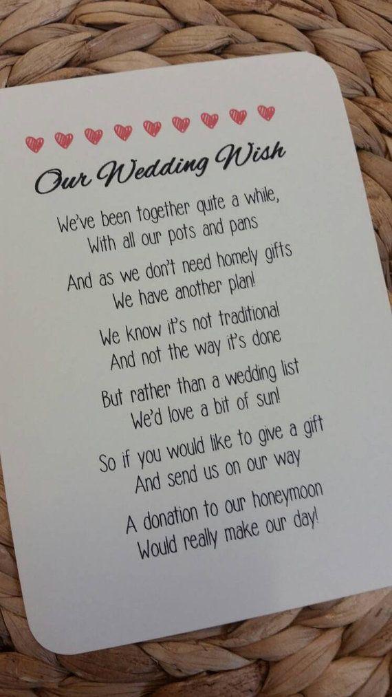 Wedding Poem Invitation Insert Money As A Gift by LolasLoveNotes ...