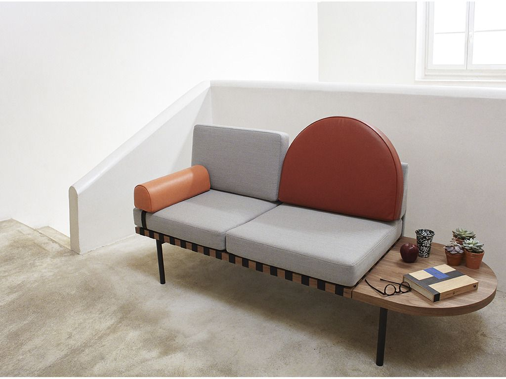 Petite Banquette Design Grid Petite Friture Grey And Red Leather Daybed With