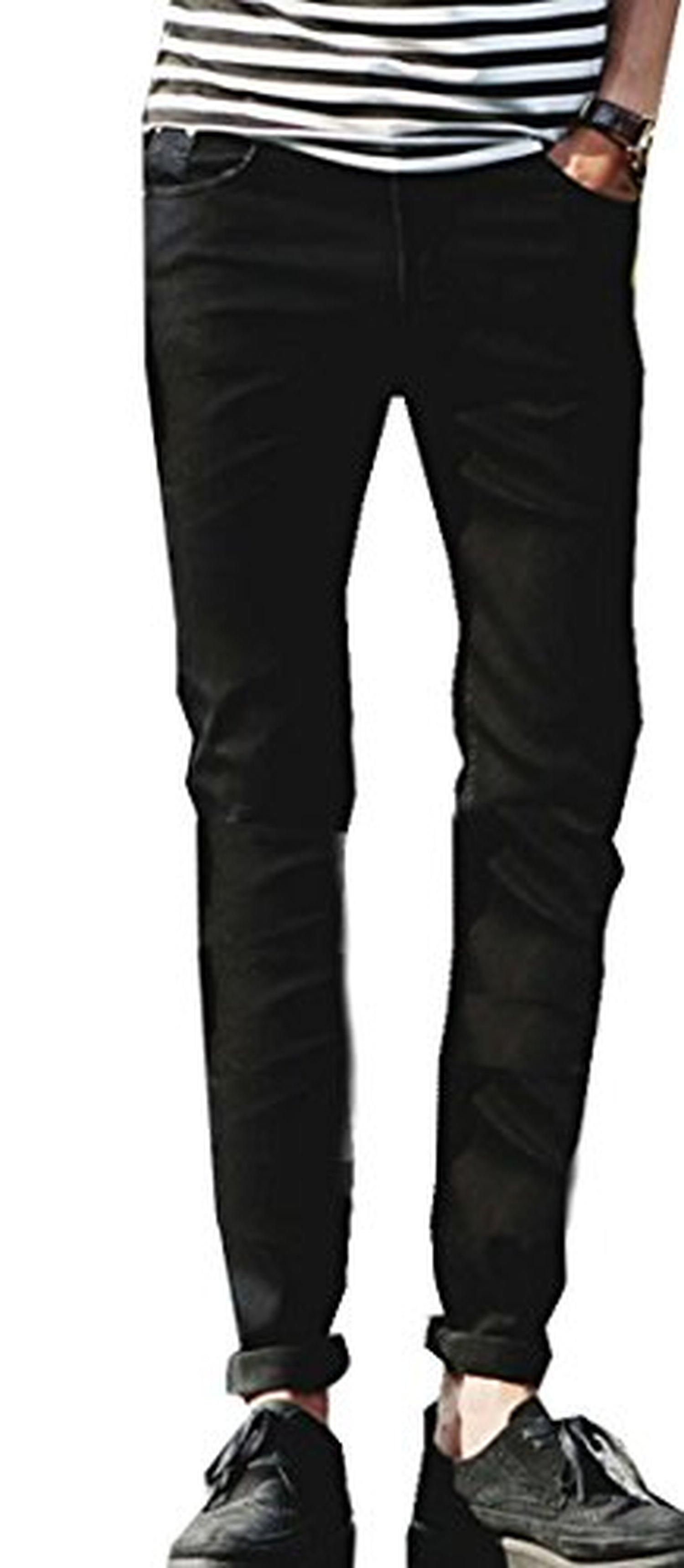 BYBU Men's Ripped Slim Washed Denim Jeans Black 32 - Brought to you by Avarsha.com