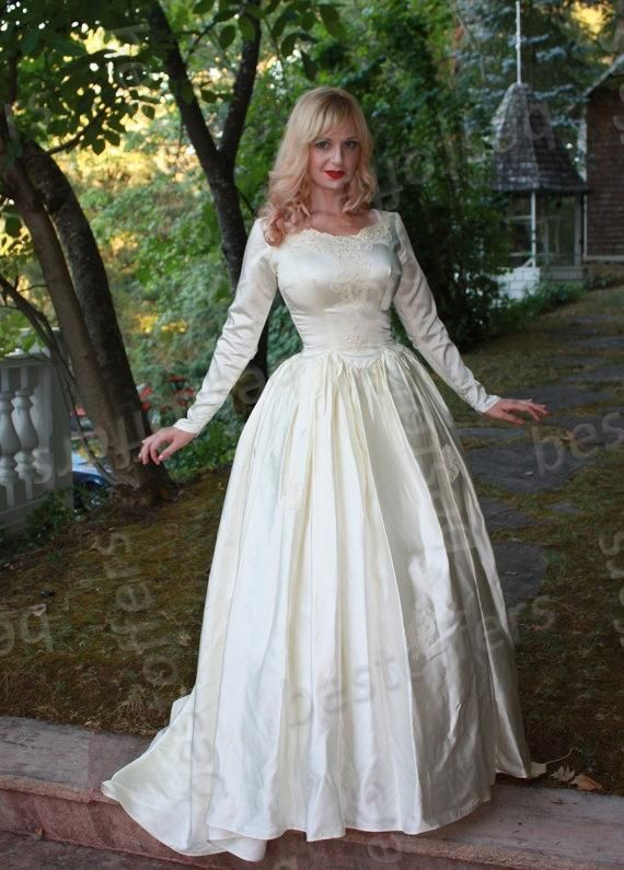 Click To Buy 2017 Custom Made Long Sleeves Wedding Dress With Lace A Satin Wedding Gown Long Sleeve Satin Wedding Dress Cheap Long Sleeve Wedding Dresses