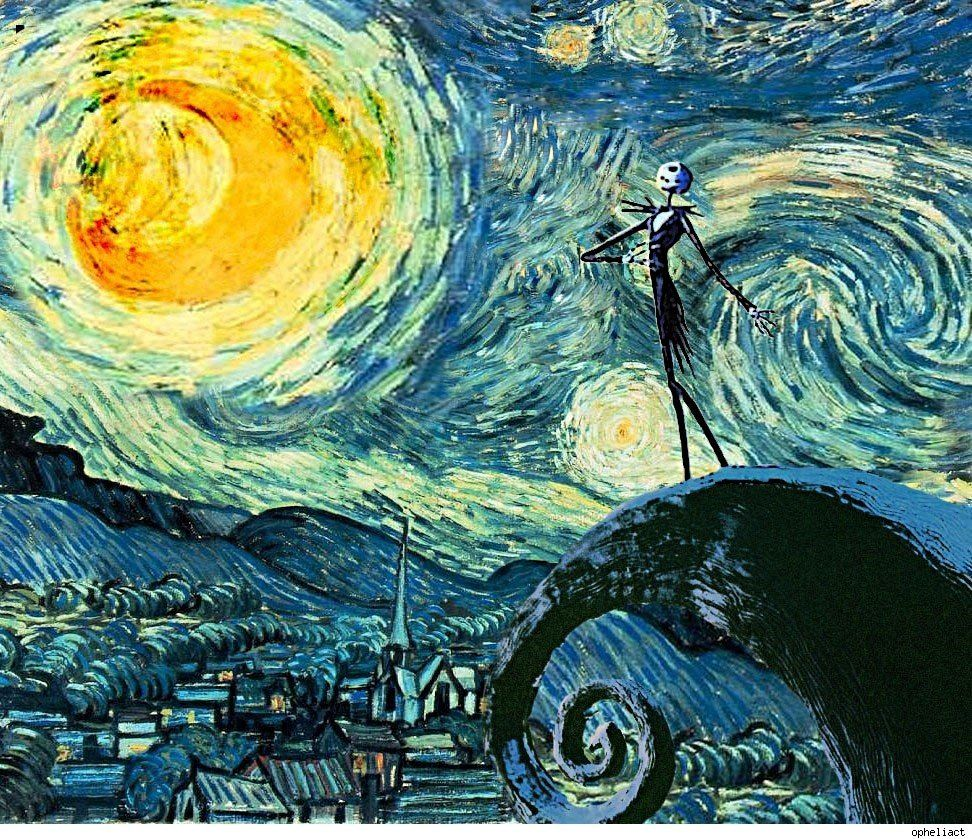 Nightmare Before Christmas / Starry Night - Vincent Van Gogh style ...