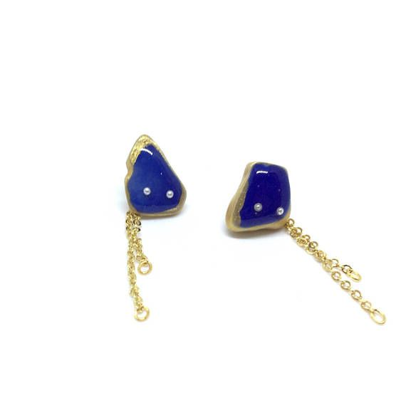 Blue sea ceramic earrings double chain esr back studs gold