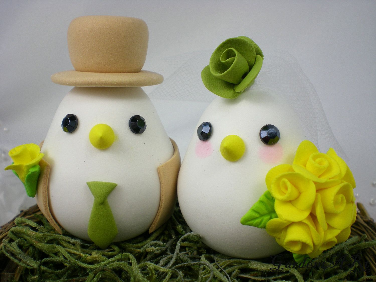 Custom Love Birds Wedding Cake Topper with Sweet Nest - the Bride Hold a Yellow Rose Bouquet(Choice of Color). $69.00, via Etsy.