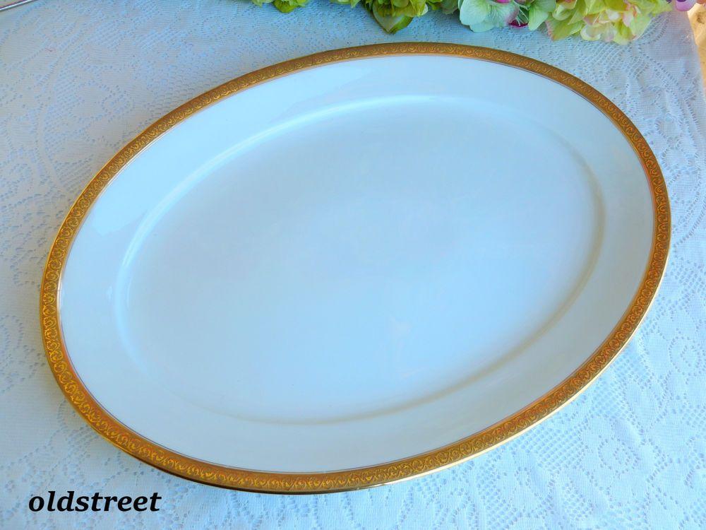 Antique Haviland Limoges Porcelain Serving Platter ~ White ~ Gold Encrusted #2 & Antique Haviland Limoges Porcelain Serving Platter ~ White ~ Gold ...