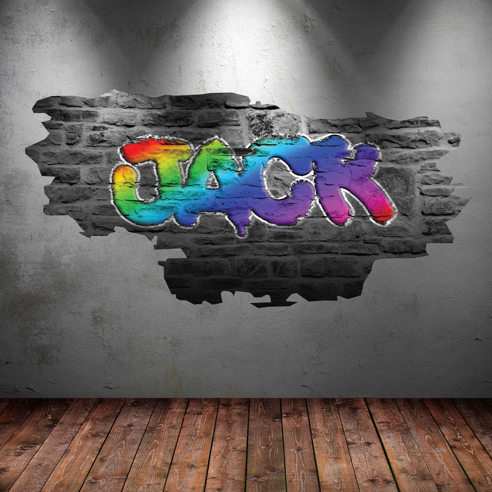 D multi colour personalised graffiti name wall art sticker decal