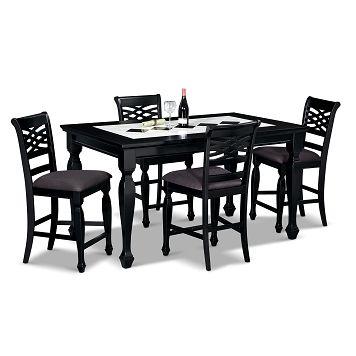 Hampden Black Dining Room 5 Pc Counter Height