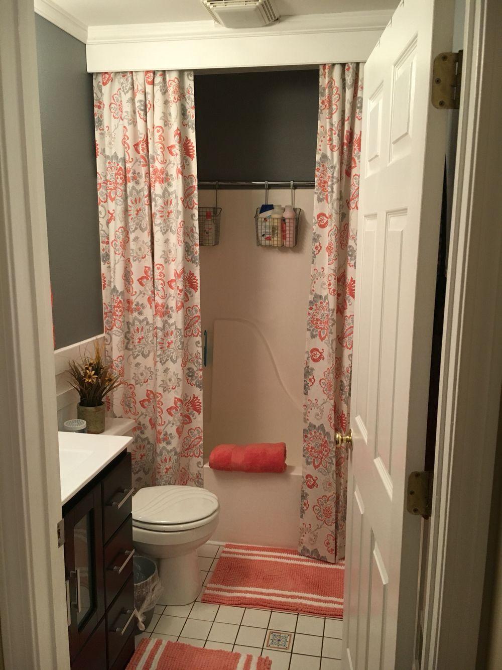 Coral Color Bathroom Rugs.My Girls Bathroom Makeover Grey Walls Coral Accent Color
