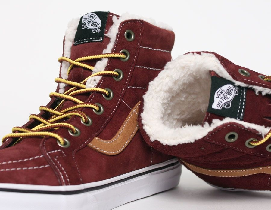 3db07d3ed9 Vans Sk8 Hi Fleece Burgundywith fur  Sneakers
