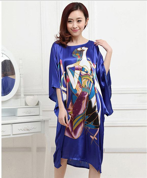 34387920569c Hot Sale Purple Summer Chinese Women s Nightgown Silk Rayon Bath Robe Dress  Kimono Gown Flower Sleepwear Plus Size 6XL S0110