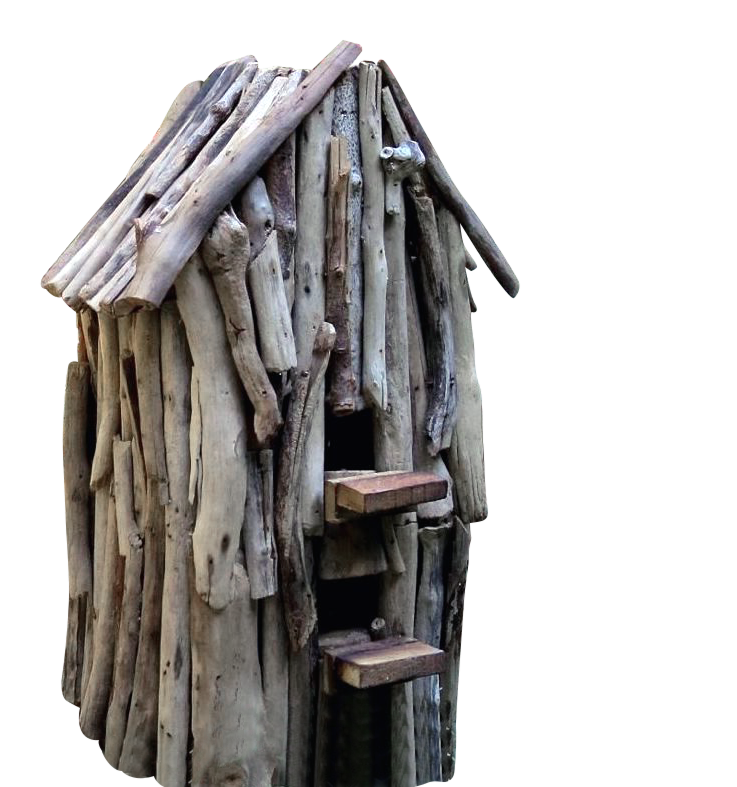 "Rustic birdhouse with coastal flair and individual character Driftwood bird house offers a cozy nest spot and roost for cool nights. Single compartment with two entries measuring 1.25""-1.5"". Ideal for"