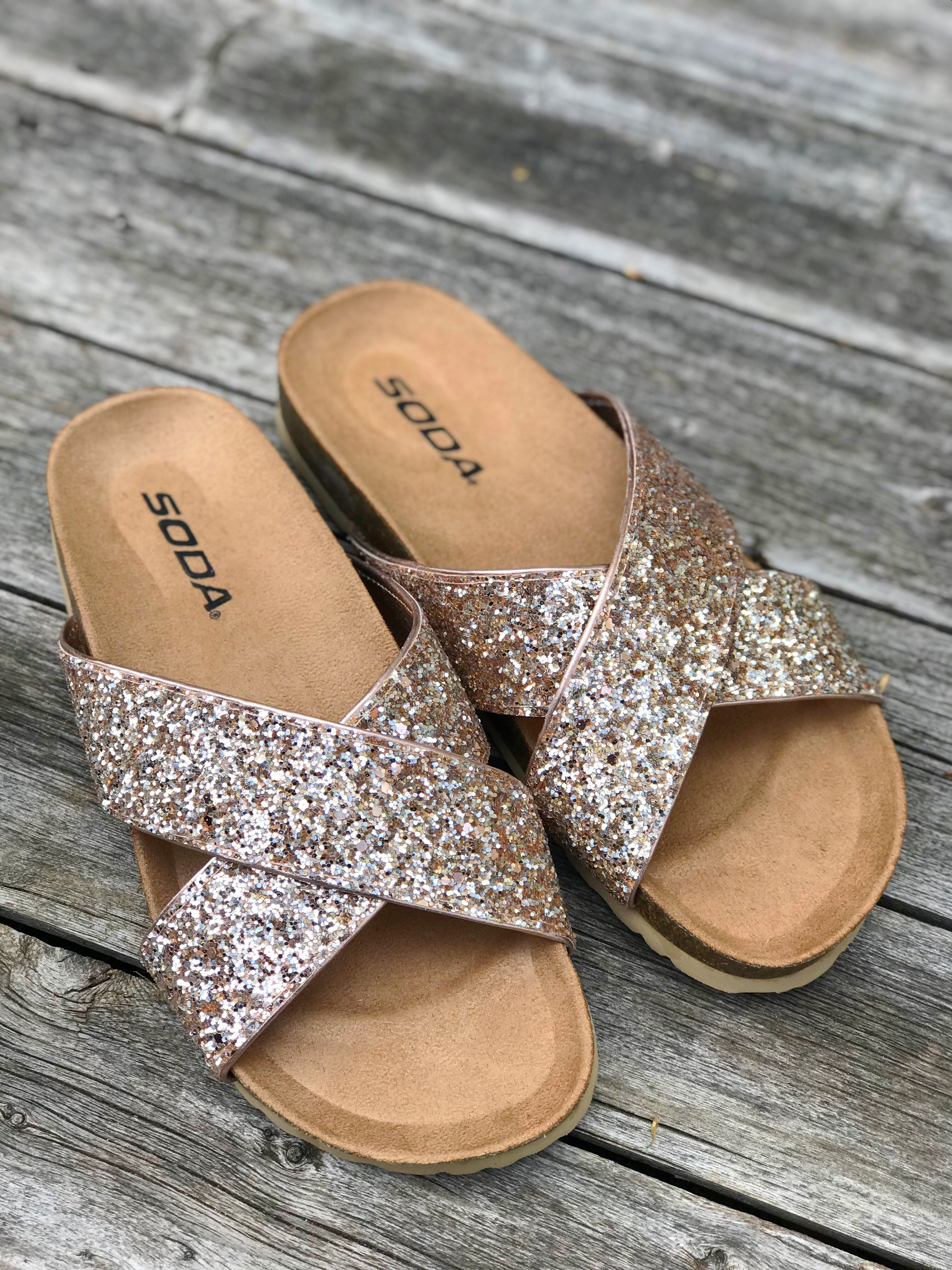 Rose Gold Glitter Midge Criss Cross Sandal | Criss cross