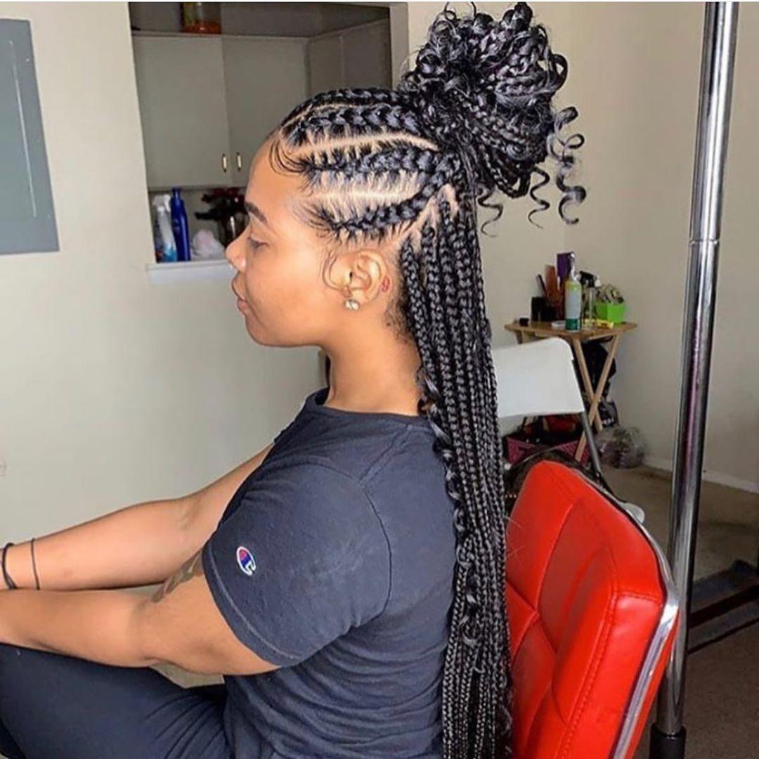Black Women Hairstyles Feed In Braids Hairstyles Braids With Curls Braids For Black Hair