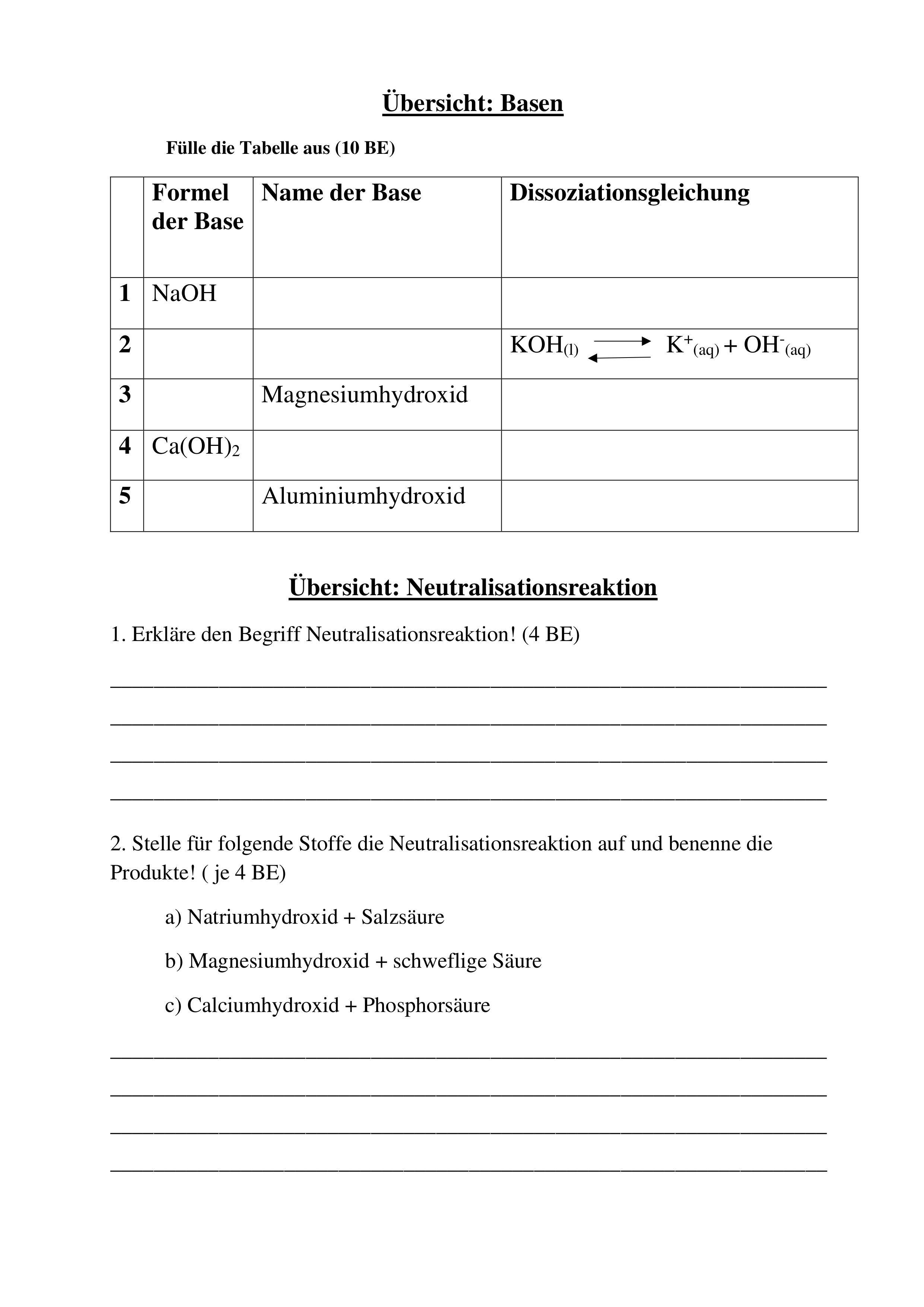 Übung Säuren Basen Dissoziation Neutralisation ...
